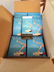 My new book and bookmarks, all ready for my book signing!